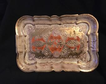 Vintage Italian Florentine Toleware Tray Gold Gilt 1960's Tray