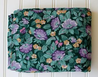 Vintage Fabric - Cotton - Green Purple Gold - Yardage - 1990s