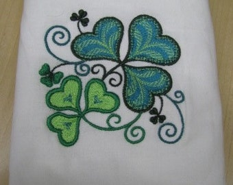 Shamrock Four Leaf Clover Towel - DISCOUNTED FOR FLAW