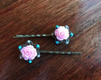Pink Rose Bobby Pin Pair