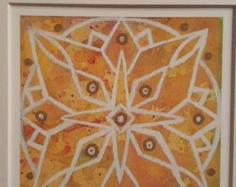 Orange Yellow Multicolor Mandala Sacred Geometry Matted Print
