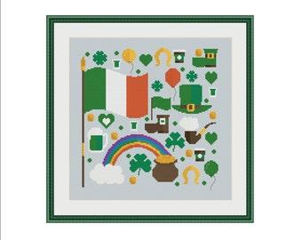 St Patrick, Saint Patricks day, Saint Patrick, St. Paddy's day, St. Patty's day, Irish cross stitch, Cross stitch pattern, PDF cross stitch