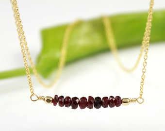 JULY BIRTHSTONE - Ruby Necklace - 14K Gold Filled Necklace - Red Ruby Gemstone Necklace - Row of Hand Cut Ruby Rondelles