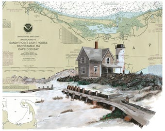 Sandy Neck Lighthouse West Barnstable, MA on a NOAA Chart