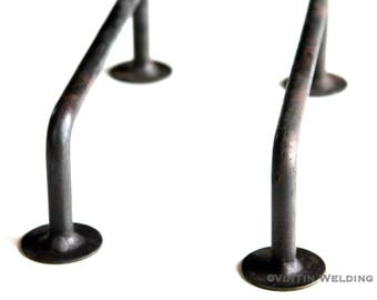 Set of 2 Blacksmith Made Hand Forged Iron Large Drawer Pulls/Handles with Circular Bases by VinTin