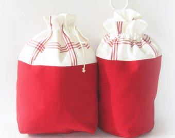 Two red stripes storage bags