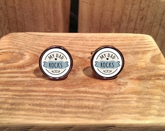 My Dad Rocks Cufflinks - can be fully personalised