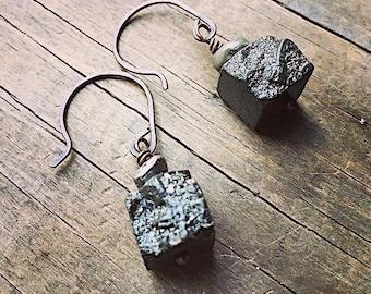 Jewelry/Pyrite/ Earrings/ Dangle Earrings/ Gold/ Earrings/Gemstone Earrings