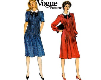 Vogue 8600 Womens Pin Tucked Dress with Ruffled Collar Tab Front 80s Vintage Sewing Pattern Size 12 Bust 34 inches UNCUT Factory Folded