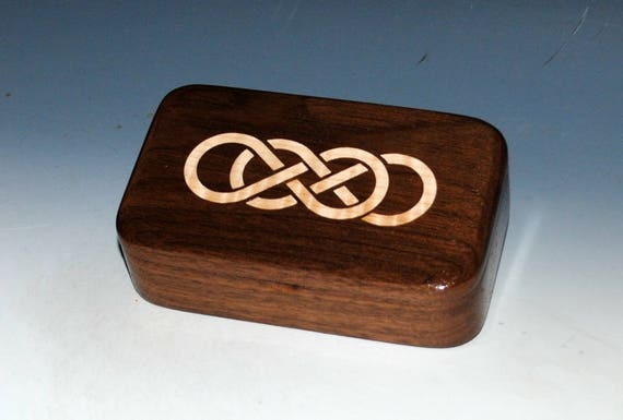 Walnut Wood Treasure Box With Inlaid Maple Double Infinity Symbol- Handmade Wooden Box by BurlWoodBox, Wood Jewelry Box, Small Wood Box, Box
