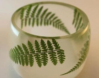 Sale 20% Rabais Fern bangle, large fern bracelet, botanical bracelet, fern bracelet, resin and fern bracelet, transparent bangle, made in Ca