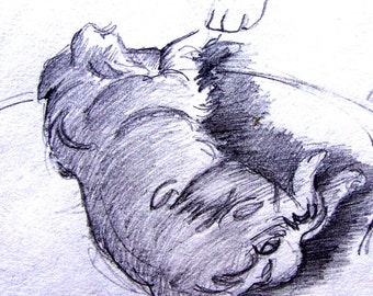 ACEO Print of Rusty dog pencil sketch Golden Retriever black and white paw