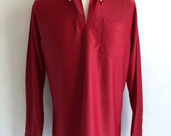 Vintage Men's 70's Disco, Turtleneck Shirt, Burgundy, Long Sleeve by K Mart (XL)