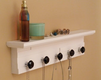 22 inches/5 knobs Jewelry Organizer With Shelf, Necklace Holder, Bracelet Holder, White
