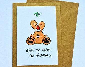 CLEARANCE: Mistletoe Bunny card
