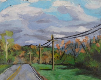 Over the Hill  -Original Landscape Small Art Painting Road Trees Mountains Clouds