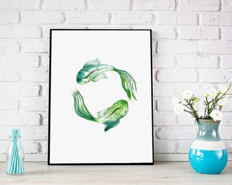 Pisces art zodiac sign digital print, fish print, printable nursery wall art, baby nursery decor, playroom decor personalised digital poster