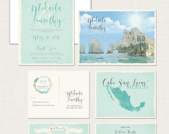 Destination wedding invitation Cabo San Lucas Los Cabos Beach Mexico bilingual  illustrated wedding invitation Blue Green - Deposit Payment
