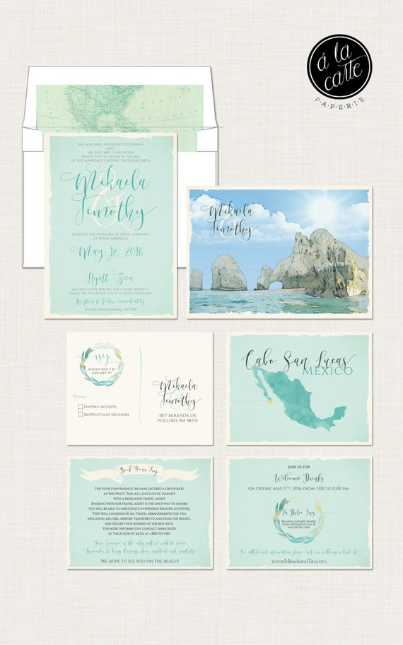 Mexico Cabo San Lucas Los Cabos Destination wedding invitation