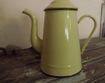 French Vintage Enamel Yellow Coffee Pot. Cafetière, retro, kitchenware