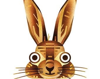 Rabbit print - 8x10 geometrical modern rabbit print