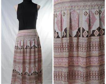 Vintage pink bohemian printed midi skirt
