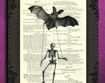 skeleton on a string print skeleton bat art print