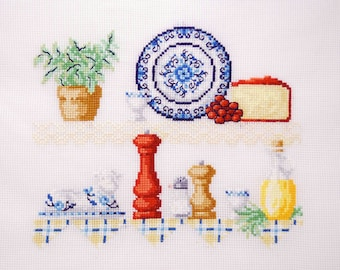 mother-in-law, hostess gift kitchen decor cottage chic wall hanging. Shabby chic Embroidered housewarming gift. finished cross stitch blue