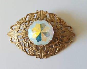 Vintage Diamond Shaped Gold Filigree Brooch /AB Rhinestone / Glamorous Costume Jewelry