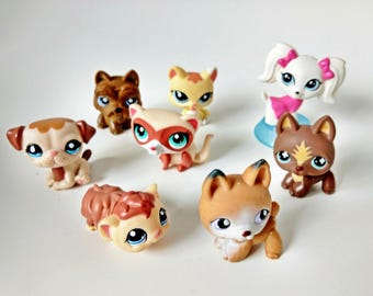 Eight Littlest Pet Shop LPS figurines with bobblin' heads Guinea Pig, Dogs, Kitten, masked ferret, Game Pcs party supply favors cake toppers