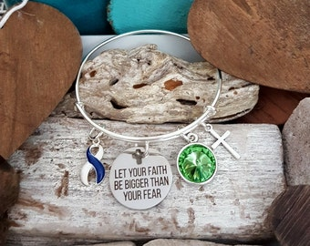 BLW-4 ALS Awareness Bracelet Colon Cancer Jewelry Chemo Gift Let Your Faith Be Bigger Than Fear Christian Jewelry Faith Bracelet For Her