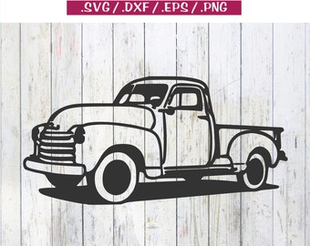 Truck Old Antique Chevy Ford Farm Restored Restoring - svg dxf eps png clipart cut print cricut silhouette cuttable file
