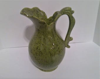 Tall Green Haeger Ceramic Pitcher USA 4058
