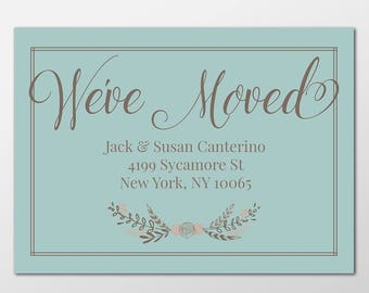Floral New Home Custom Digital Moving Announcement, We've Moved, Move Announcement, New Home Announcement Cards