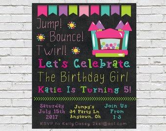 Bounce House Birthday Invitation, Jump Birthday Invite, Bounce House Party, Girls Bounce Party, Printable Invite, Trampoline Birthday Party