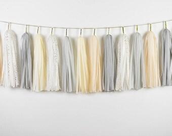 Grey Cream Gold Speckles Tassel Garland, Neutral Party Decor, Grey Gold Baby Shower Banner, Engagement Party, Neutral Nursery Banner, Blanc