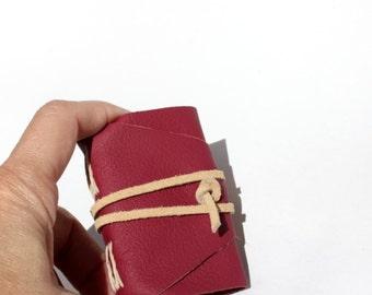Wee Mini Notebook - Handmade - Fuschia Fuchsia Leather