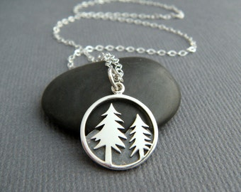 small sterling silver pine tree necklace nature lover jewelry forest woods fir boho bohemian pendant antiqued oxidized charm hiker gift