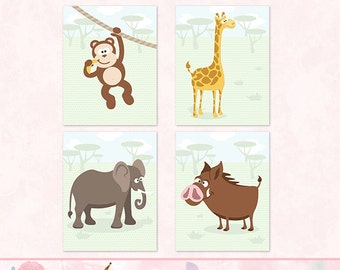 Cute Animal Nursery Print Set, Wall Art, Child Decor - Set of Four, FREE SHIPPING