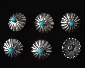 Silver Repousse Concha Buttons with Sleeping Beauty Turquoise ...  Set of 6 ...Made to Order