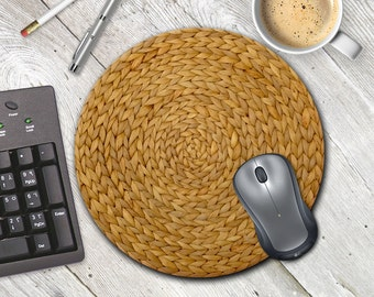 Wicker Mouse Pad, Basketweave mousepad, Natural Texture Mousepad, Rustic Mouse Pad