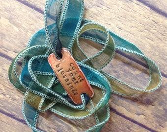 Silk wrap bracelet,  silk ribbon bracelet ,boho wrap,COUNT YOUR BLESSINGS ,handdyed,enameled copper,yoga,ruban de soie,Seidenband# 172