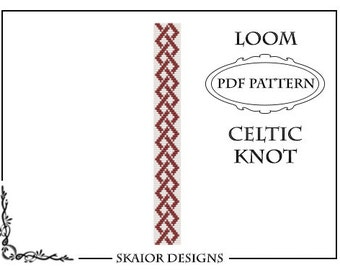 Loom Beading Pattern Celtic Knot Bracelet Seed Bead Pattern Tribal Loom Bead Pattern Knotwork Bead Weaving Square Stitch Loomwork Red White