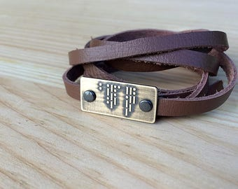 I LOVE YOU Morse code bracelet | leather wrap bracelet | brass | copper | gift for him or her | Mother's Day | Father's Day