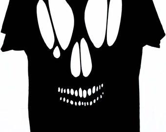 Skull Cutout T Shirt Top / Goth Skull Cut Out Shirt
