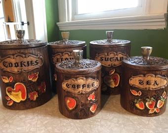 Vintage canister set w/ matching cookie jar