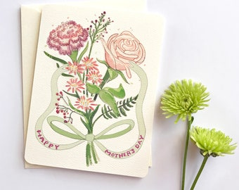 Mothers Day Card Floral - Mothers Day Cards - Flower Card for Mom - Mother's Day Card - Mother's Day Gift - Happy Mother's Day