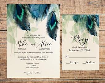 Wedding Invitation Set, Wedding Invite, Wedding Rsvp Card, Printable Wedding Invitations, Boho Wedding Invitations, Feather Invitations