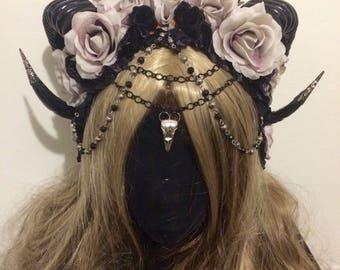 BY ORDER Gothic horns demon goddess graveyard grey rose headdress festival cosplay by order