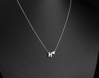 Dainty Silver Initial And Heart Necklace, Personalised Tiny Silver Letter Necklace, Monogram Necklace, Delicate Fine Chain